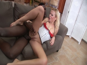 Big black cock slam by this blonde pussy