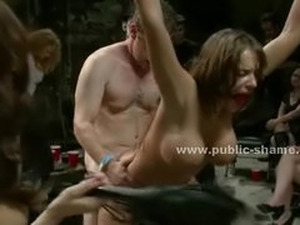Large breasts horny whore tied with hands up made to be sex sla