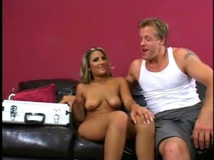 Fucking the blonde on leather couch
