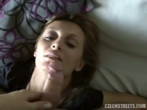 Drunk blonde czech blows and fucks for cash