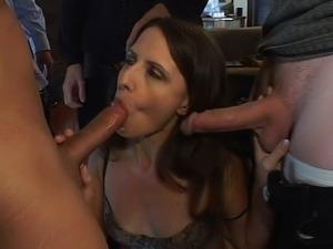 Lena rides four wild dicks