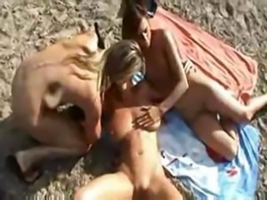 Three Horny Babes Doing Lesbian Sex In Outdoor