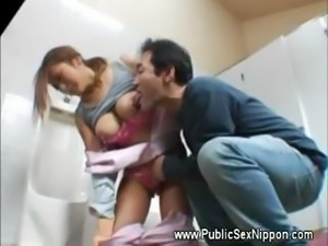 Pleasing the asian cleaner in bathroom