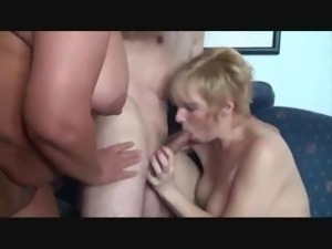 Two beautiful mature hotties have a three-way with a hunky stud
