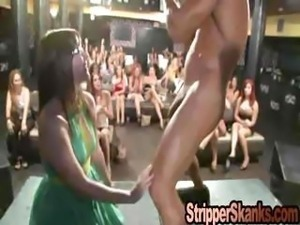 Emo Chick Gags On Stripper Jizz