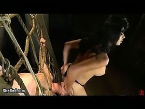 So hot busty tranny fucks bondaged gay guy in throat