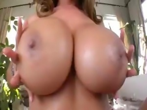 Brunette Kianna Dior has huge boobs and blows and titty fucks