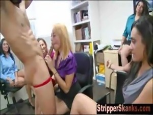Uninhibited Office Girls Play With Strippers