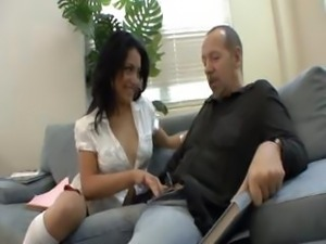 Brunette Andrea takes on her teacher's big cock and eats and bangs