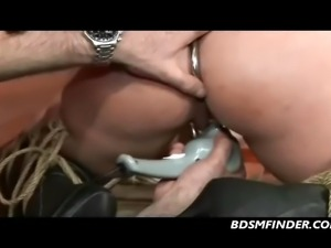Tied and spread on her knees whipped and made to orgasm