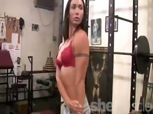 Sexy brunette goes to the gym and strips to workout her petite body