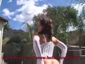 Acrobatic brunette beauty in li ... free