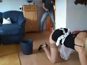 Hottie German blonde MILF in a maid's uniform gets her ass banged