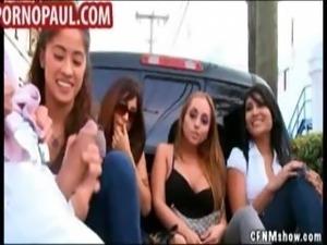 Amateur girl gives handjob in public