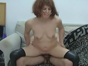 Sexy hot redhead girl giving blowjob to her neighbor and getting pumped by...