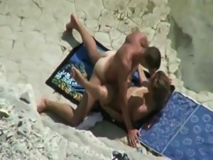 Amateur couple sex on beach