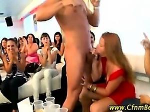 Amateur ladies sucking CFNM strippers cock