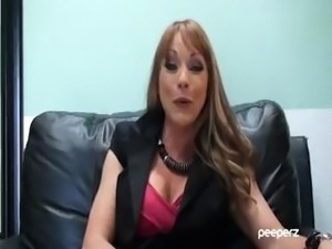 Brunette pornstar MILF Shayla LaVeaux gives an interview with clips of