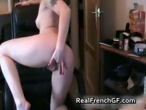Tattoed french slut stripping on webcam part5