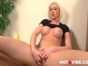 Horny blond Victoria strips and then stuffs her fingers in her pussy deep and...