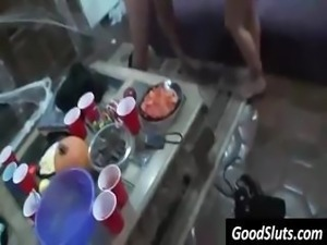 Party chicks give this dancer a blowjob and get banged hard