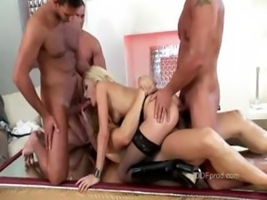 With four well hung guys pleasing her holes she is almost satisfied
