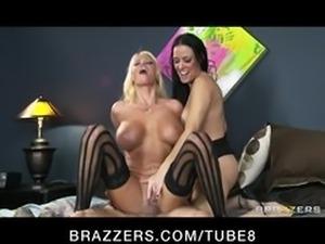 Slutty horny bigboobed blonde  brunette share big hard dick