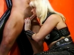 Kinky Blond whore wants to play... and teases her man in her latex outfit......