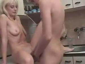 Russian Blond Mom Son's friend at Kitchen