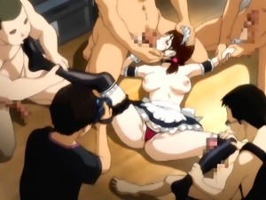 Cute hentai maid gangbanged and filmmed her sex