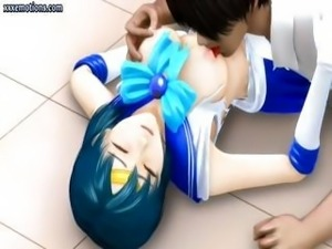 3D animated Asian girl is getting poked, eating cock and getting groped