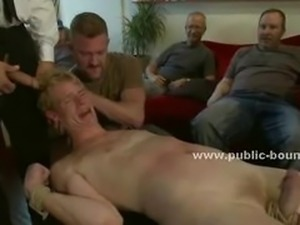 Cafe shop boy tied by pervert gays