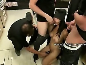 Blonde slut with white panties tied in ropes in car workshop and fucked in...