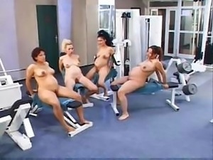 Four pregnant women getting the long-awaited portion of cock