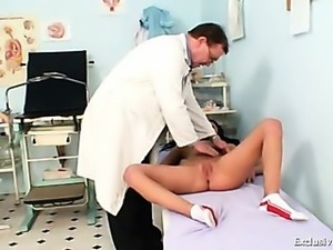 Gabina humiliated during kinky gyno speculum exam by old doctor