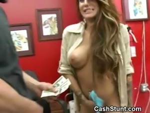 Brunette Flashes Wicked Titties In Tattoo Shop