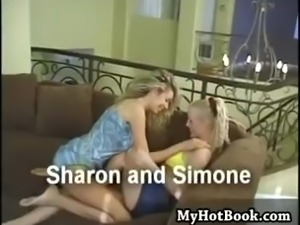 Sharon and her blonde haired  lesbian lover are si