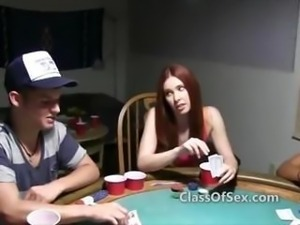 College poker turns to stripping hot chicks