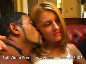 Horny blonde interracial threesome free