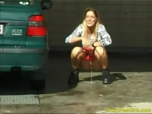 Crazy pee girl at the car wash free