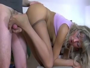 Blonde in stockings foot fetish and pussy pounding