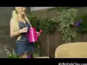 British Blonde Hottie Gets Fucked In The (fake) Garden  british euro brit