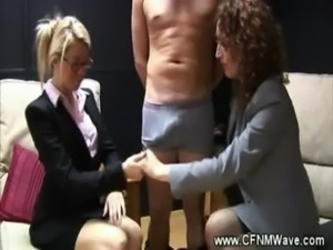 Eager cfnm sluts want to get to ... free