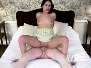 Decibelle sucks and fucks on a luxury bed