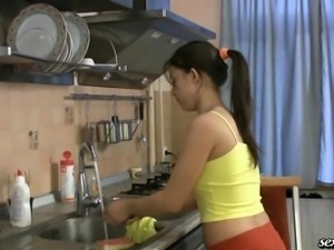Beautiful girl sucks and fucks in the kitchen
