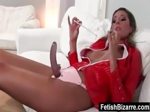 Blonde slave gets punished by her mistress who later gets fucked