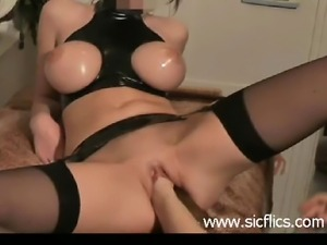 Huge double fist and dildo fucked busty brunette