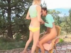 18yo girls playing outdoors with dildos