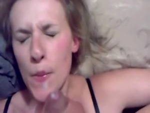 Pretty blonde pimp slapped, dick slapped, cum on by black