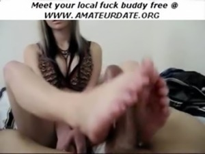 hot amateur girlfriend footjob  ... free